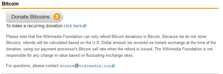 Bitcoinspenden für Wikimedia