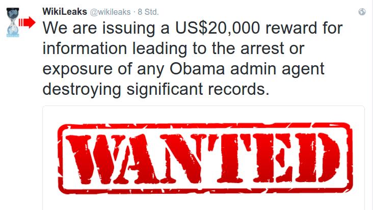 Wikileaks will Infos zu Datenvernichtung der US-Regierung belohnen