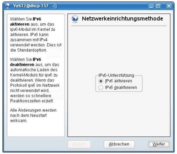 Das Einrichtungswerkzeug Yast unter OpenSuse kann auf den ersten Blick IPv6 nur ein- oder ausschalten. Für fest vergebene Adressen muss man das Feld für IPv4-Adressen nutzen.
