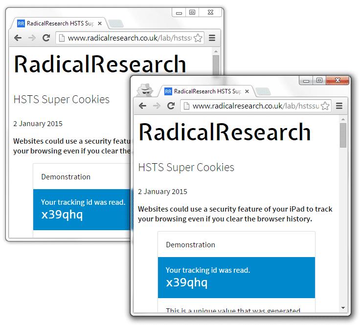 Die Testseite liest im Inkognito-Modus (rechts) die Tracking-ID der Hauptsitzung (links) aus.