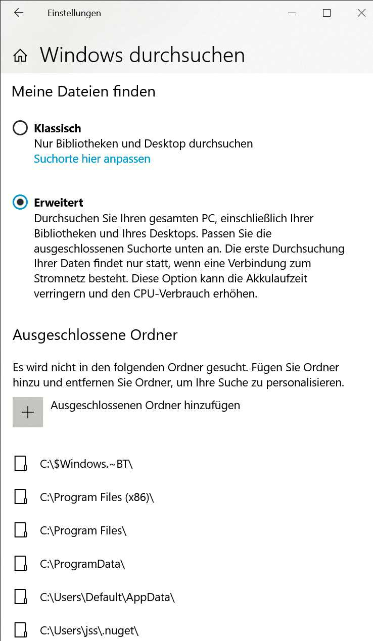 Im erweiterten Modus indiziert Windows alles, was nicht explizit ausgeschlossen wurde, statt sich nur auf Bibliotheken zu beschränken.