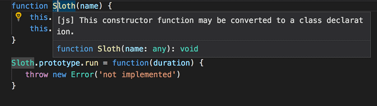 Visual Studio Code schlägt das Umwandeln der Konstruktorfunktion in eine Klassendeklaration vor.