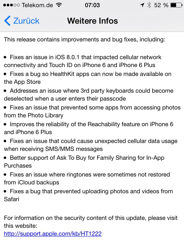 In der Hektik wurde die Update-Beschreibung nicht mehr eingedeutscht; 8.0.2 arbeitet aber auch auf deutschen iPhones einwandfrei.