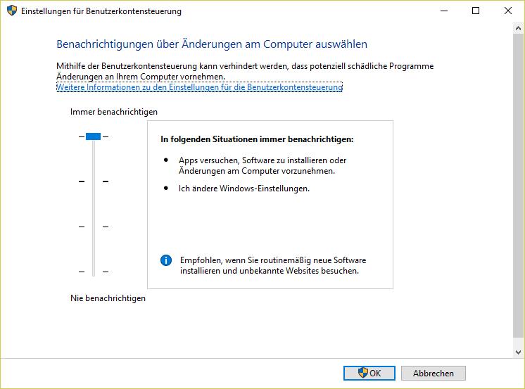 Warum Microsoft diese UAC-Einstellung nicht ab Werk aktiviert, ist schleierhaft, steigert sie doch die Sicherheit des gesamten Betriebessystems deutlich.