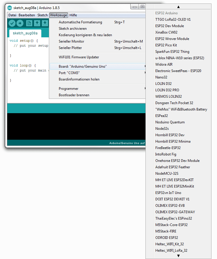 ESP in Arduino IDE einbinden: Screenshot der Board-Auswahl
