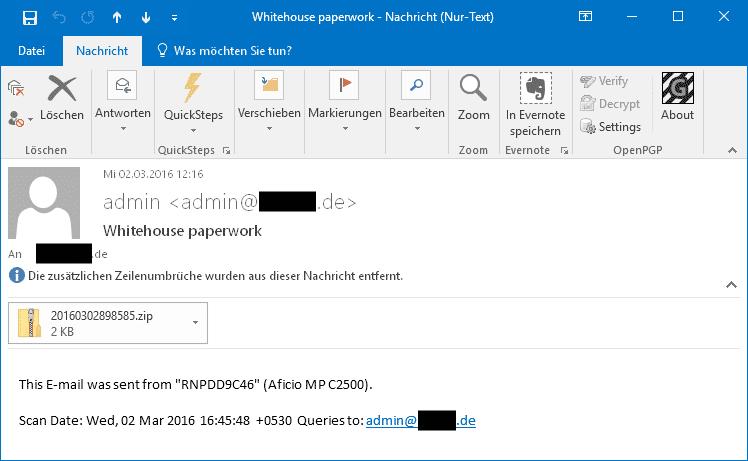 Trojaner-Mails, die vermeintlich vom Büro-Kopierer stammen, liegen gerade wieder schwer im Trend.