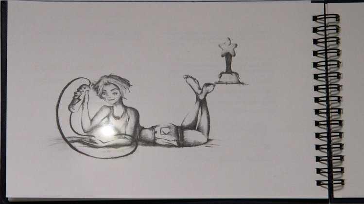 Zeichnung eines Mädchens, die einen kleinen Stern mit Anschlüssen an eine Batterie hält.