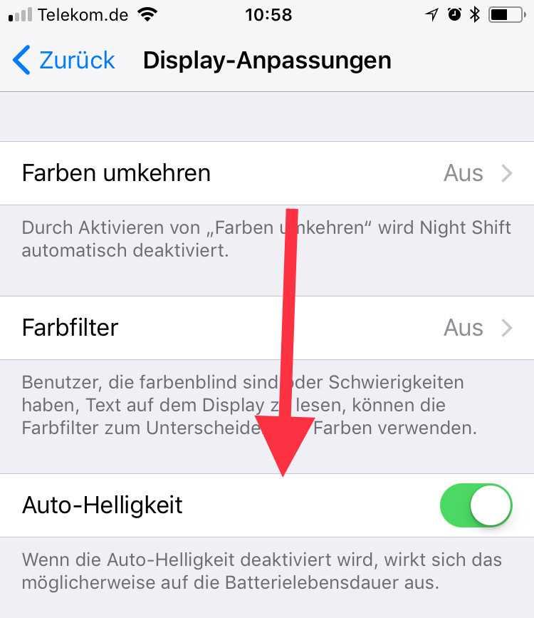 Auto-Helligkeit iOS 11