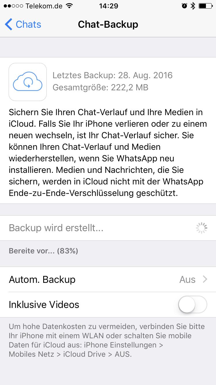 In WhatsApp findet sich kein Hinweis auf die neue Verschlüsselung der iCloud-Backup-Daten.