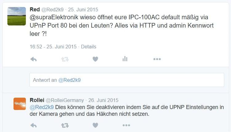 Auf seinen gut gemeinten Hinweis erhielt der Twitter-Nutzer @Red2k9 lediglich den Ratschlag, dass er doch UPnP in der Kamera abschalten könne.
