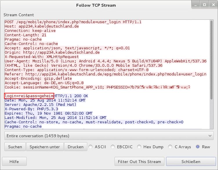Die App verträgt die ihr anvertrauten Zugangsdaten ungeschützt im Klartext.