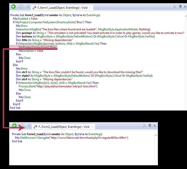 Die beiden hier darsgestellten Formulare sind die einzigen ausprogrammierten Elemente des angeblichen PS3-Emulators.