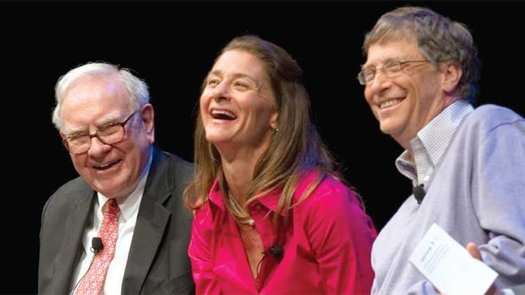 (v.l.n.r.) Warren Buffett, Melinda Gates, Bill Gates
