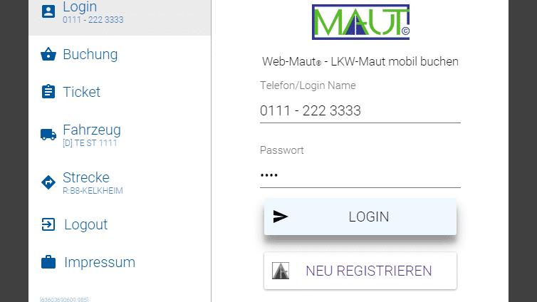 App zum Zahlen der LKW-Maut