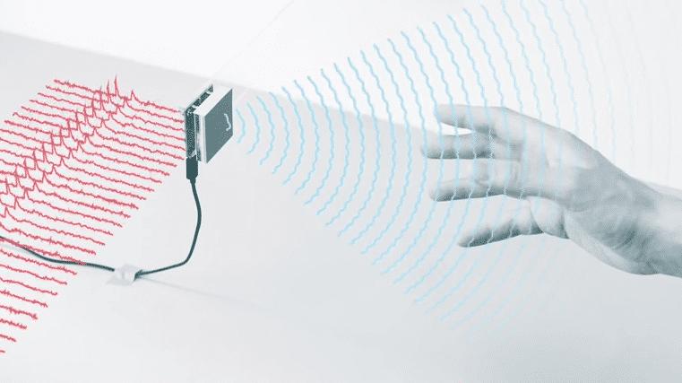 Zeichnung: Chip, Radarwellen, menschliche Hand