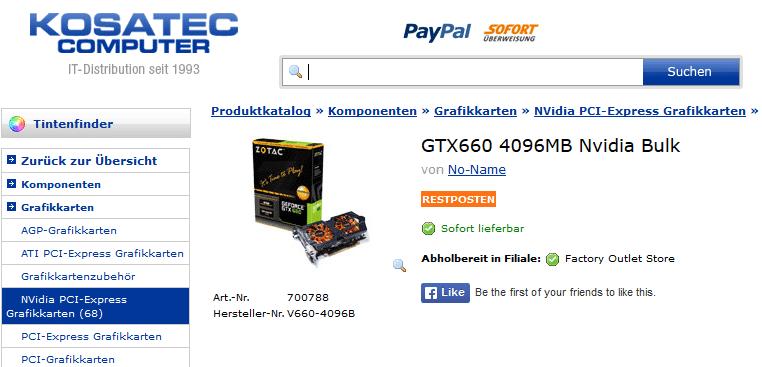 Der Großhändler Kosatec bewarb die Karte in seinem Web-Shop mit einer Zotac-Retailkarte. Zotac will seine Rechtsabteilung einschalten.