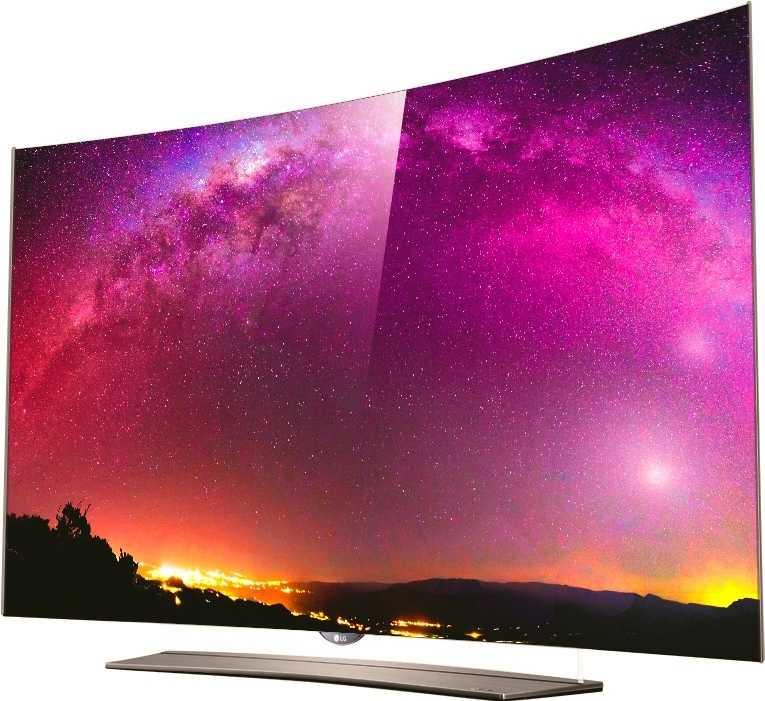 Die meisten OLED-TVs sind super dünn, einige auch leicht gebogen; hier ein 4K-OLED-TV von LG.