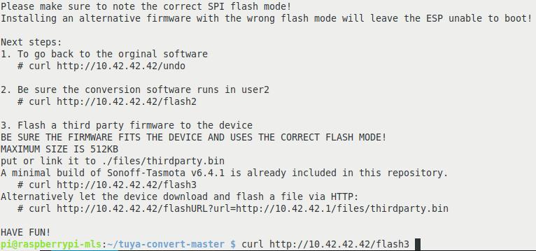 Nach der Installation der Updater-Firmware, kann man den Flashvorgang rückgängig machen oder eine alternative Firmware wie etwas Sonoff-Tasmota einspielen.