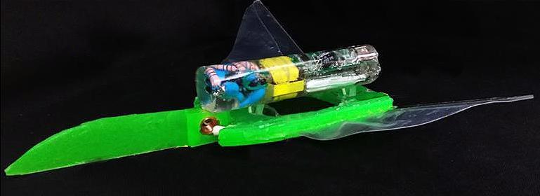 Die Batterie und zwei Elektromagnete sind die einzig sichtbaren Elemente des Roboters.