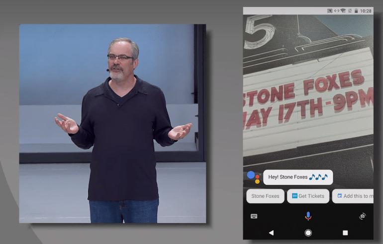 Abhängig von dem, was in einer anderen App zu sehen ist, macht Google Assistant Vorschläge.