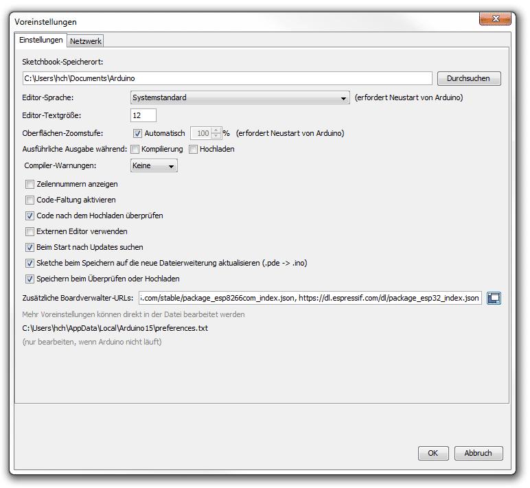 ESP in Arduino IDE einbinden: Screenshot der Voreinstellungen