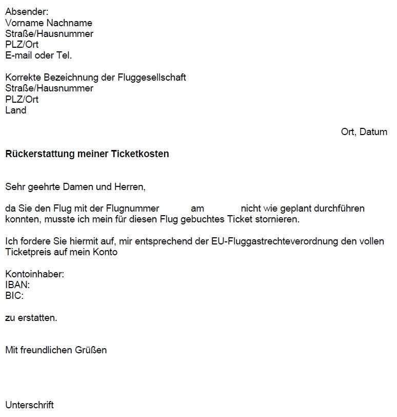 Anbieter wie flugrecht.de stellen Musterbriefe bereit, die z.B. zur Erstattung der Tickets bei einem Flugausfall oder einer Verspätung als Vorlage dienen.