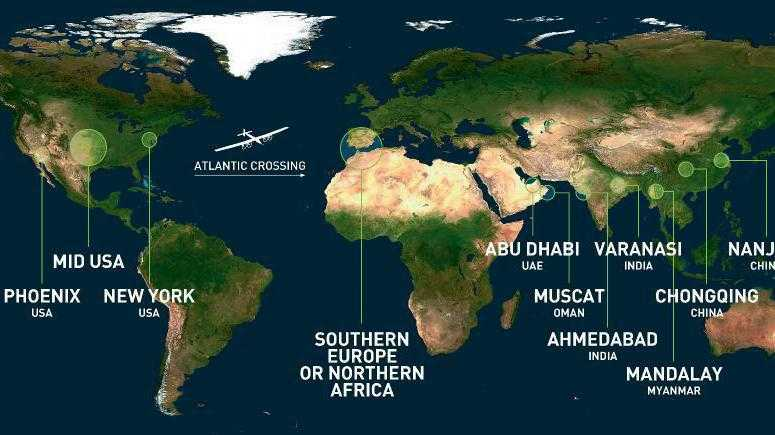 Weltumrundung: Geplante Route für Solar Impulse 2 vorgestellt
