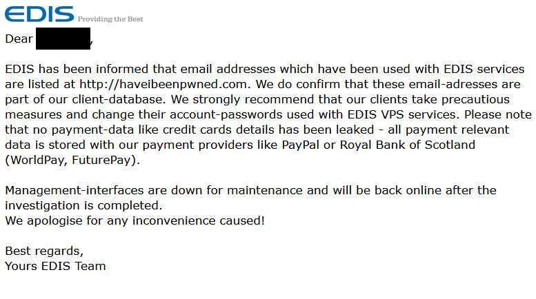 EDIS hat seine Kunden mit dieser E-Mail informiert.