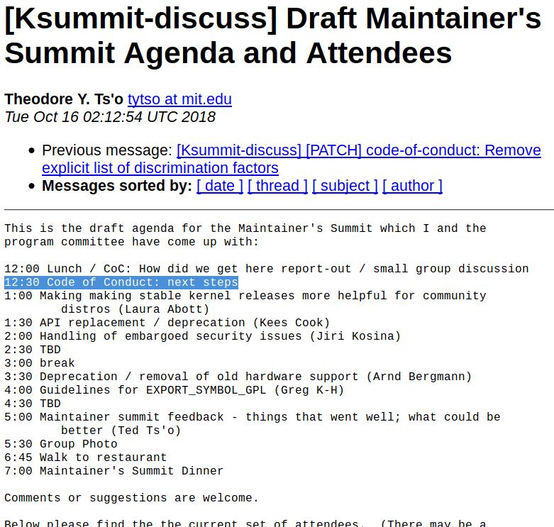 Beim Maintainers Summit sind nur 30 Minuten zur Diskussion des COC angesetzt.