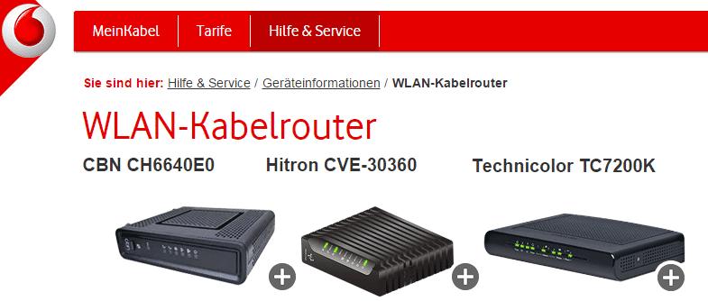 Vodafone stellt seinen Kabel-Kunden einen von drei Standard-Routern. Der CBN CH6640E0 und der Hitron CVE-30360 sind über WLAN angreifbar.