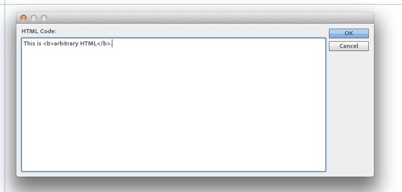 Screenshot: Der HTML-Editor in Muse