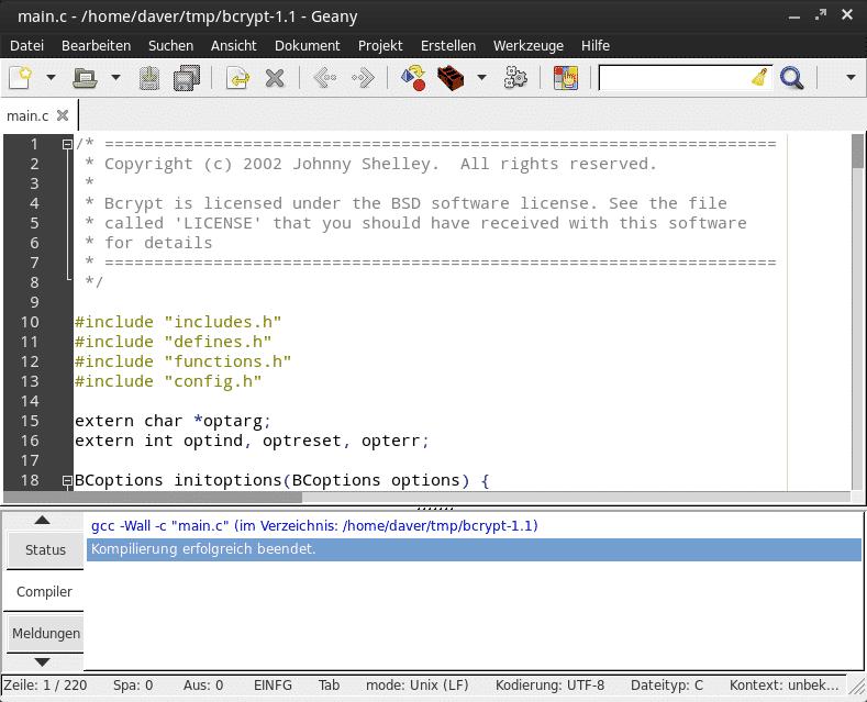 Wie es sich für eine Entwicklungsumgebung gehört, hat Geany auch einen Compiler an Bord.