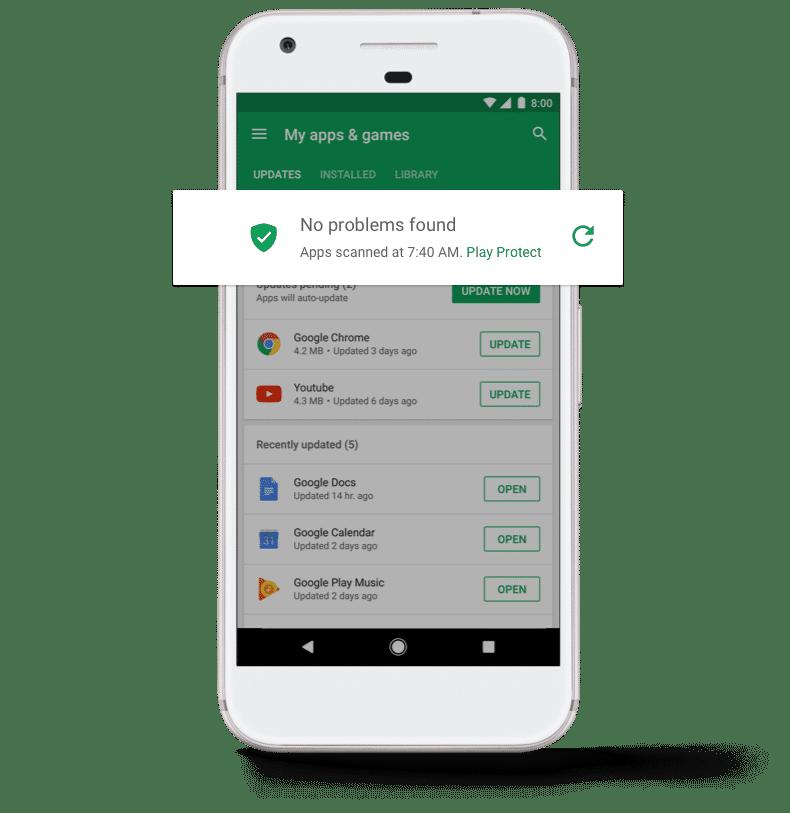 Google Play Protect scannt installierte Apps auf Schädlinge und landet als Teil der Play-Store-App auch auf Geräten mit Android 7 und älter.