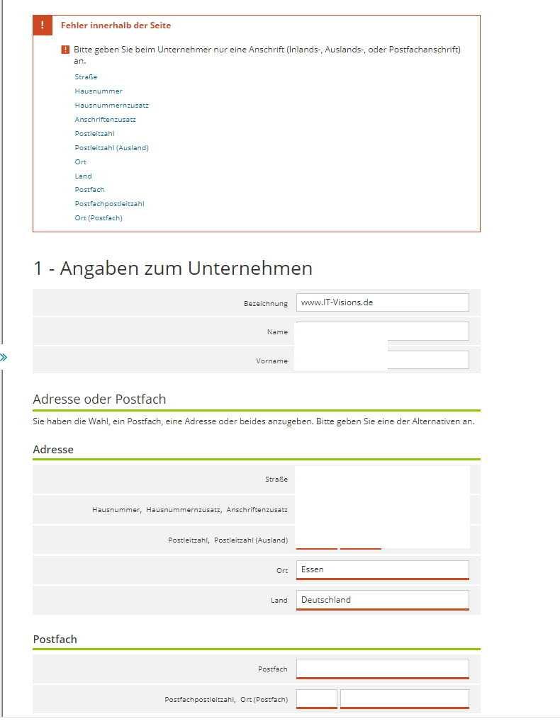 Unsinnige Fehlermeldung im Elster-Webportal