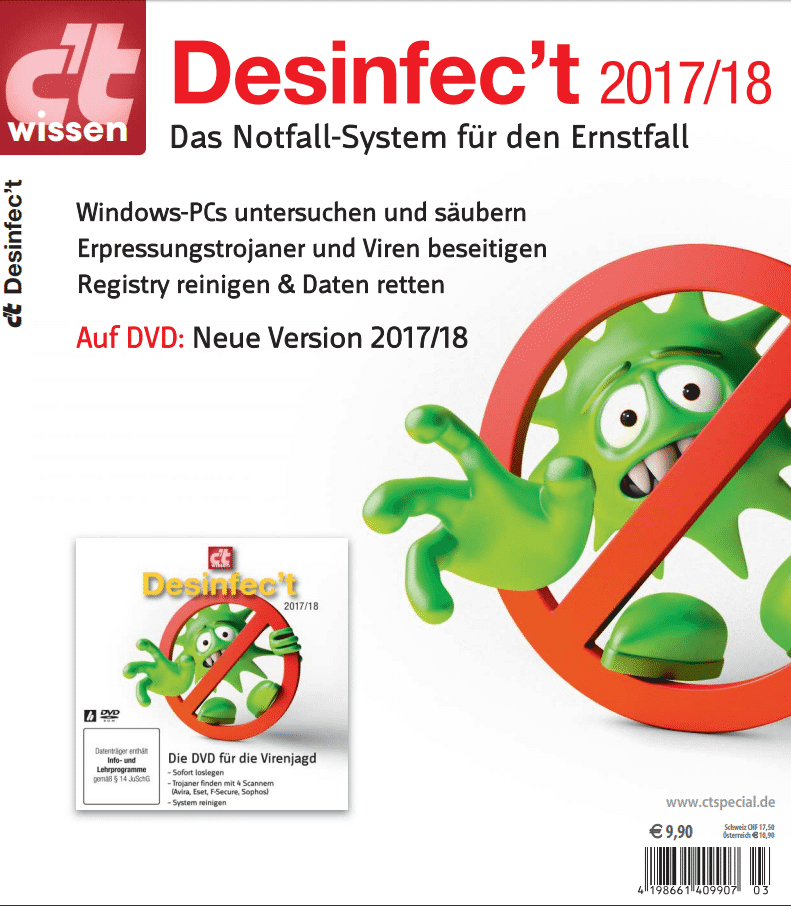 Desinfec't 2017/18 von der Heft-DVD läuft auch von einem USB-Stick - den man mit wenigen Klicks erzeugt.