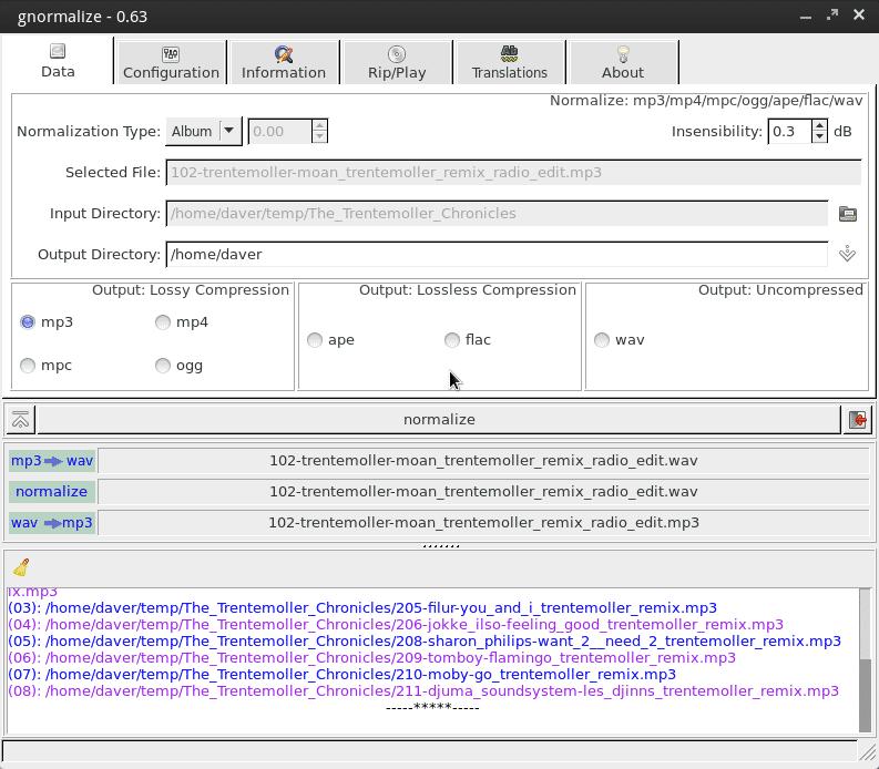 Frontend in Perl: gnormalize bietet eine grafische Oberfläche für verschiedene Decoder und Encoder.