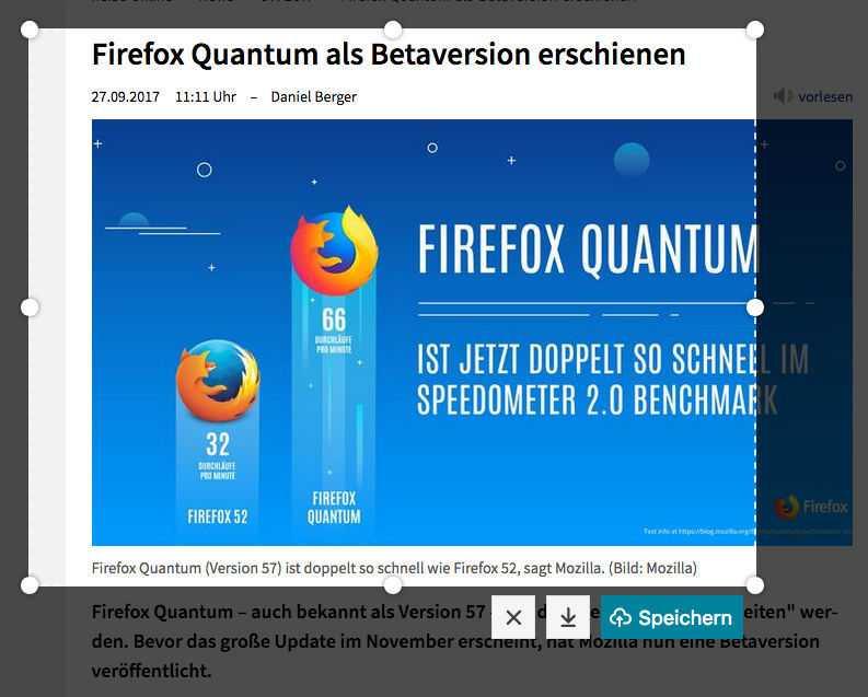 Praktische Neuerung: Mit einem kleinen Screenshot-Tool können Firefox-Nutzer Bildschirmfotos mit wenigen Klicks erzeugen und verschicken.