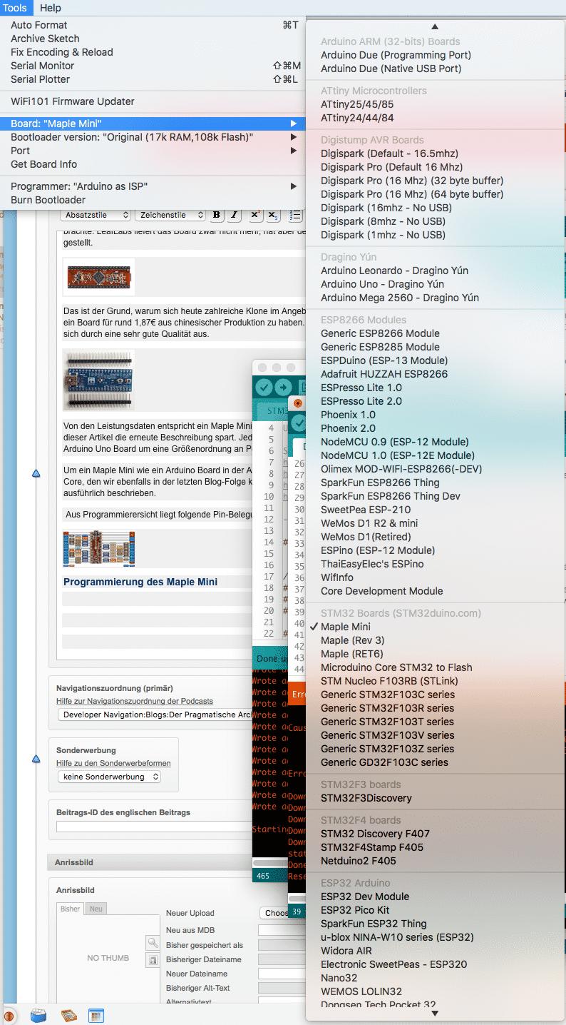 In der Arduino IDE steht das Maple Mini Board nach Installation des STM32duino Core zur Verfügung