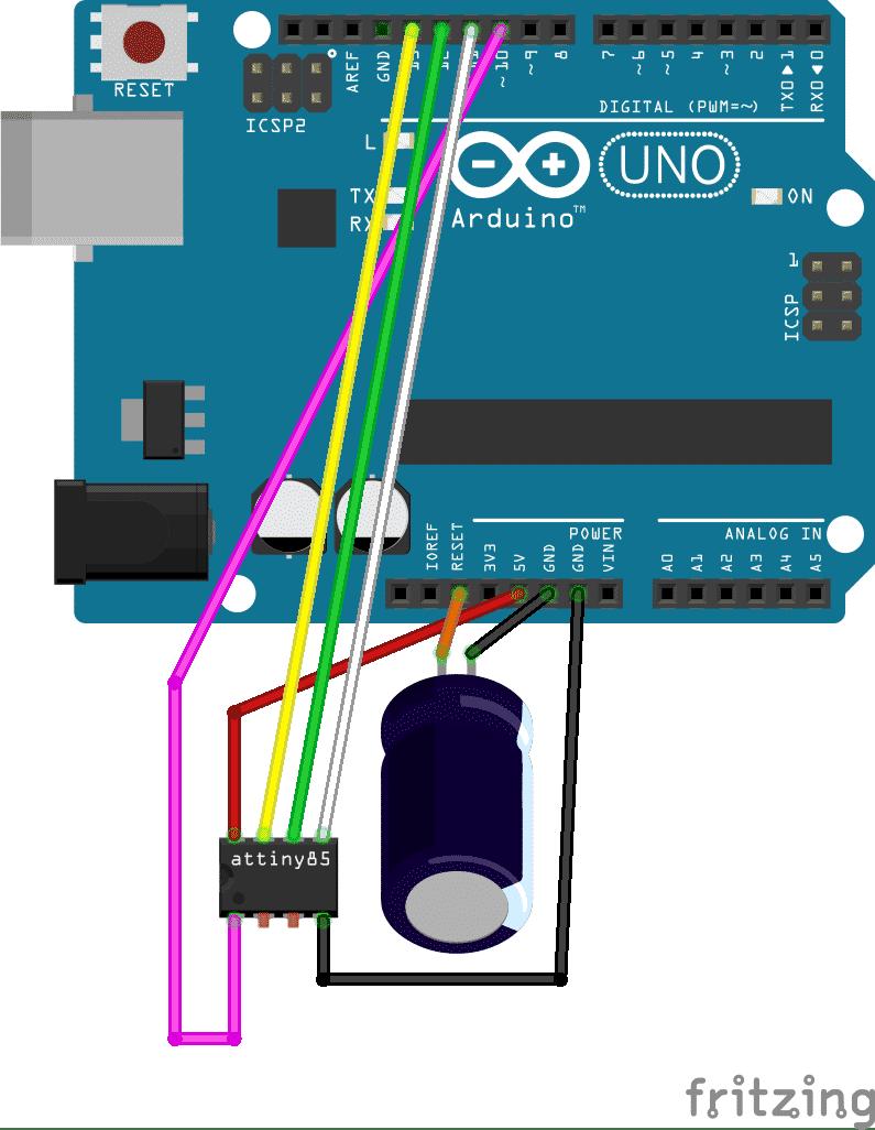 Attiny Winzlinge Ganz Gro Heise Developer Arduino Isp In System Programming And Standalone Circuits Open Programmieren Eines Attiny85 Mit Dem Uno Als Programmer Hardware