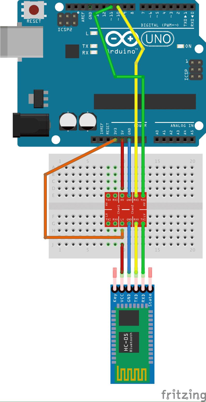 in Logic Level Shifter verbindet Uno und HM-10 Board