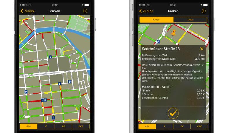 Navigon-App soll Parkplätze in Echtzeit zeigen