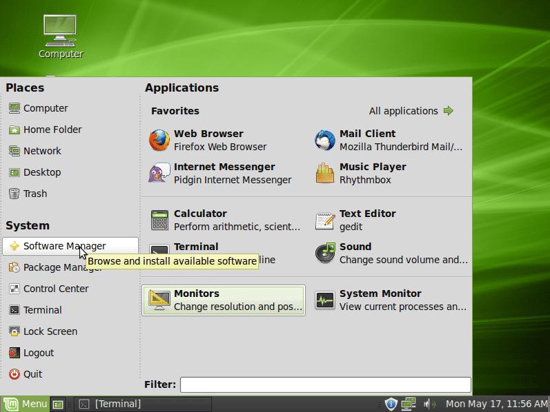Linux Mint 9 Desktop
