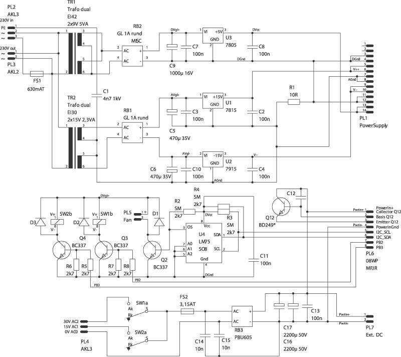 Der I2C-Baustein LM75 zeigt dem DCG-Controller, ob die Temperatur des Kühlkörpers noch im grünen Bereich liegt. Der Rest der Schaltung ist wenig aufregend - vom dicken Leistungstransistor Q12 einmal abgesehen.