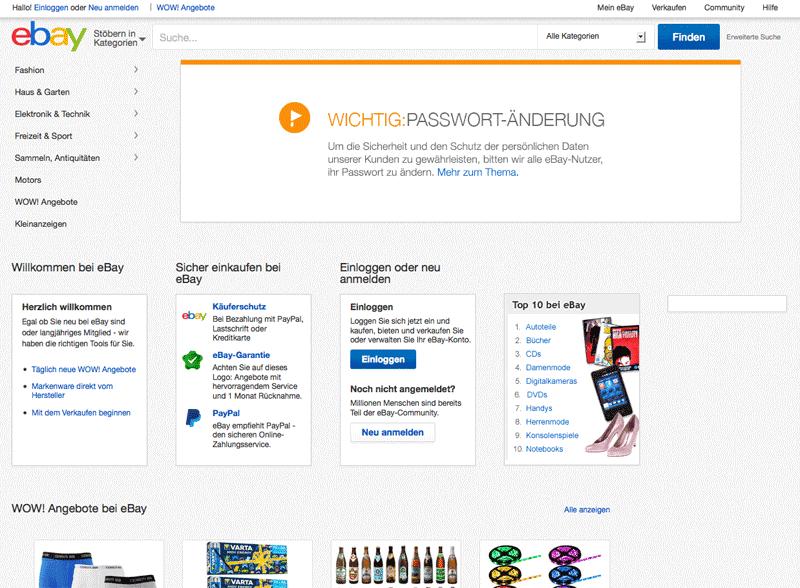 Im Mai forderte eBay seine Kunden auf, die Passwörter zu ändern