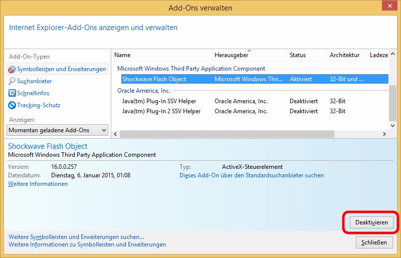 Unter Windows 8.x bringt auch der Internet Explorer einen eigenen Flash Player mit, der separat deaktiviert werden muss.