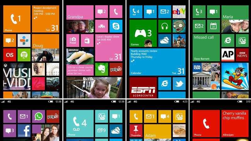 Kacheloberfläche vom Windows Phone