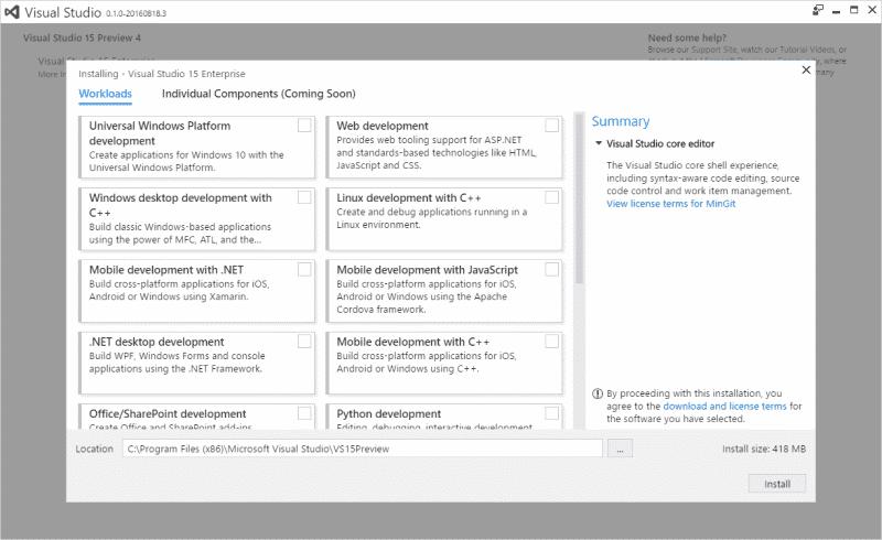 Der neue Installer für Visual Studio