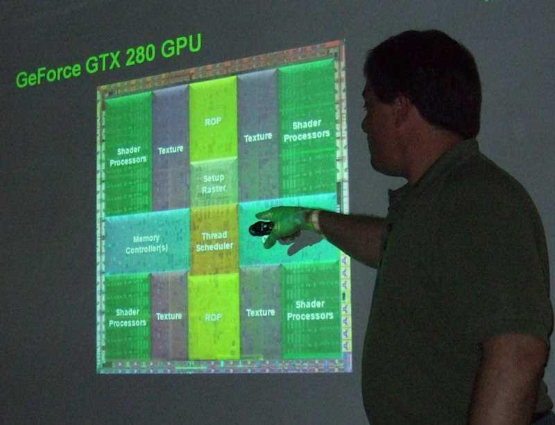 GPU-Architekt Tony Tamasi hat fast die Hälfte der GTX-280-Chipfläche mit den 240 Rechenkernen belegt.