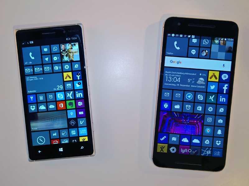 Original und Fälschung: Mein Lumia 830 und das Nexus mit Kacheln.