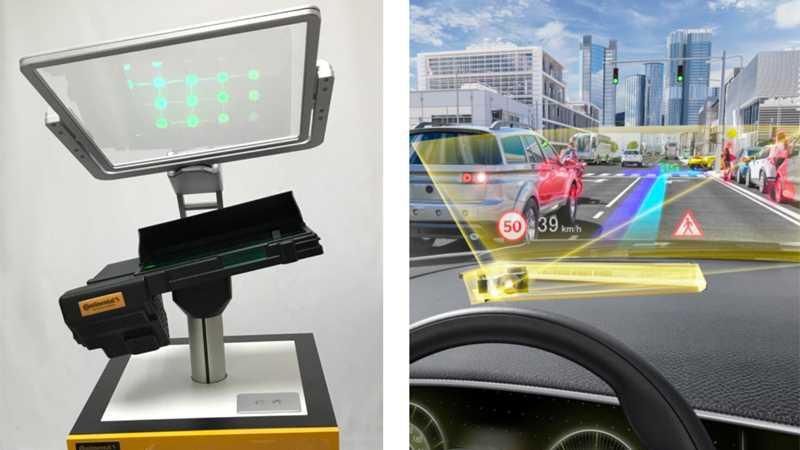 HUD mit Wellenleitern für Augmented Reality im Auto